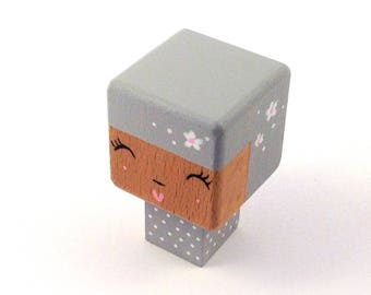 "Magnet figurine cubic ""Kokeshi Doll"" gray polka dots and flowers pattern"