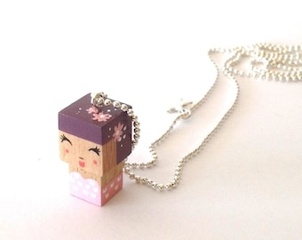 "Pendant cubic figurine ""Pin-up"" plum and pink ball chain necklace"