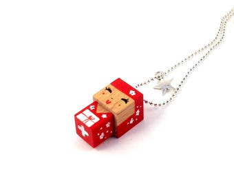 Pendant cubic Kokeshi doll kimono and cherry blossom ball chain necklace