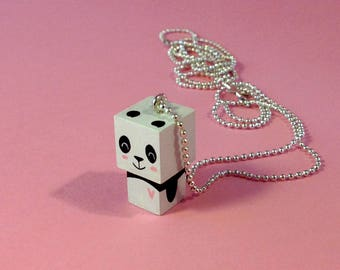 "Cubic figurine ""Panda pink heart"" bead chain necklace"