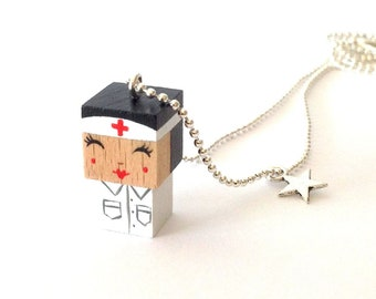 "Pendant cubic figurine ""Nurse"" ball chain necklace"