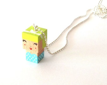 "Necklace pendant cubic figurine ""Pin-up"" lime green + blue ball chain"