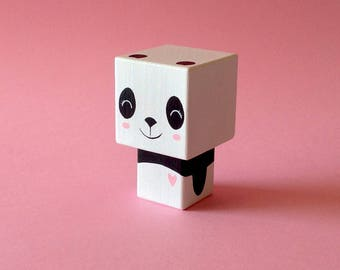 "Cubic decorative wooden figurine ""Panda heart rose"""