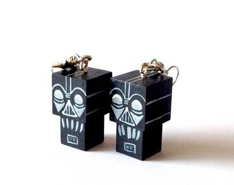 "Earrings Wooden Figurines ""Dark""- Hand-made"