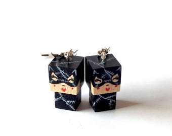 "Earrings Wooden Dolls ""Catwoman"" - Hand-made"