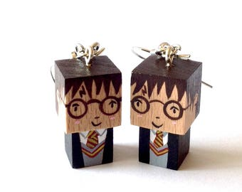 "Earrings cubic wooden figurine ""Harry Potter"" Handmade"