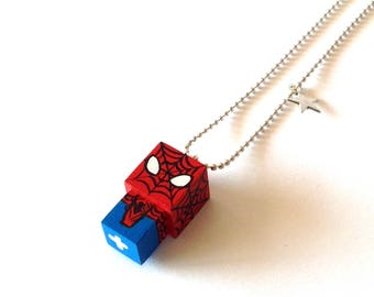 "Pendant cubic figurine ""Spiderman"" ball chain necklace"