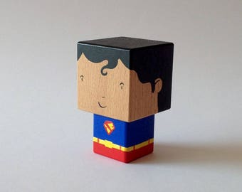"Decorative wooden ""Superman"" superhero cubic figurine"