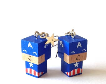 "Earrings cubic wooden figurine ""Captain"""