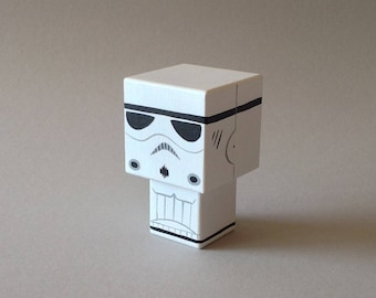 "Cubic wooden decorative ""stormtrooper"" figurine"