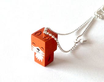 "Pendant cubic figurine ""Fox"" ball chain necklace"