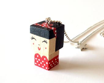 "Necklace ball chain necklace cubic figurine ""Pin-up"" retro style - strapless red with white dots"