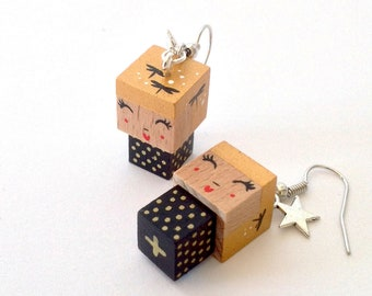 Earrings Wooden Dolls - Hand-made