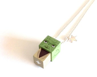 "Pendant cubic figurine ""Yoda"" ball chain necklace"