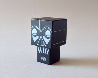 "Cubic wooden decorative ""Dark"" figurine"