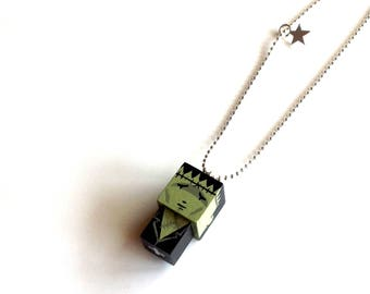 "Pendant cubic figurine ""Creature of Frankenstein"" ball chain necklace"