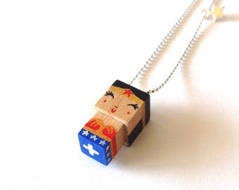 "Pendant cubic figurine ""Wonderwoman"" ball chain necklace"