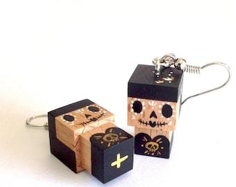 """Earrings Wooden Dolls """"Calaveras"""" Hand-made"""