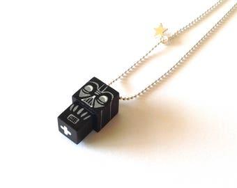 "Cubic figurine ""Dark"" bead chain necklace"