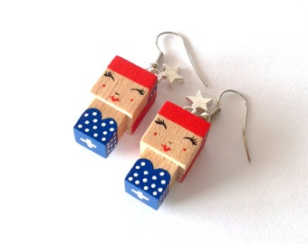 "Earrings Wooden figurine ""Pin-up"""