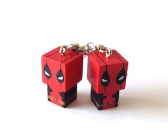 "Earrings cubic wooden figurines ""Deadpool"" Handmade"