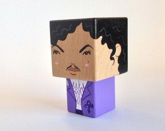 "Cubic wooden figurine ""Prince"" purple rain version"