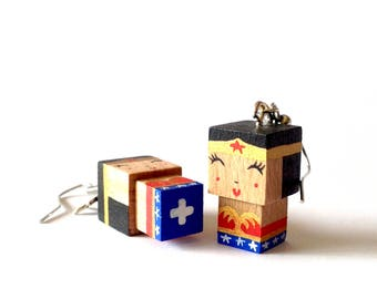 "Earrings cubic wooden figurine ""Wonderwoman"""