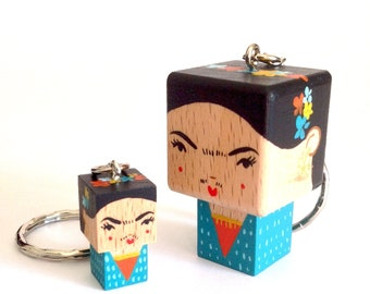 "MINI Woodendoll ""Frida Kahlo"" Pink- Blue or Black version"