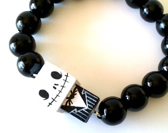 "Lacquered wood pearls bracelet ""jack"""