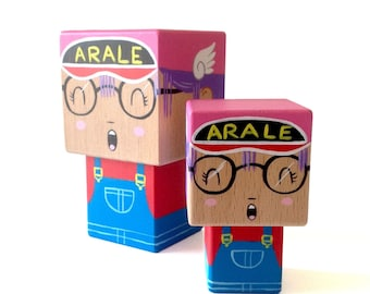 "Cubic wooden figurine ""Arale"" Dr Slump - Hand painted"