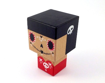 "Decorative figurine cubic ""Calavera"" red and black wooden - skull - hand painted."