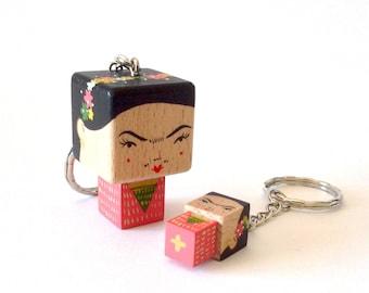 """cubic Key ring """"Frida Kahlo"""" Pink version"""