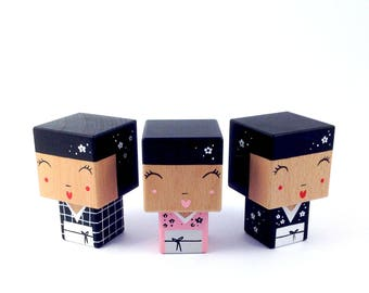 Kokeshi figurine cubic kimonos - Japanese inspired - cherry flowers - hand painted