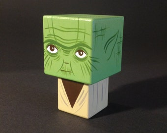 "Cubic wooden decorative ""Yoda"" figurine"