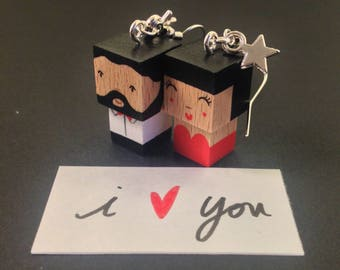 "Earrings cubic wooden figurines ""lovers"""