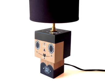 "Wooden ""Calavera"" black and grey cubic figurine lamp"