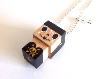 "Pendant cubic figurine ""Calavera"" black and gold ball chain necklace"