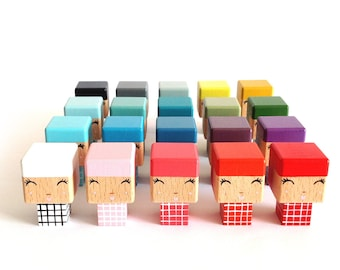 MINI Kokeshi Plaid decorative cubic wooden cutout