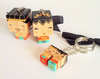 "Key chain cubic Figurines couple ""Loro Blonyo"" - inséparable Couple-"