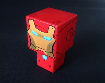 "Decorative cubic superhero ""Ironman"" wooden cutout"