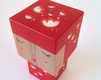 Cubic Kokeshi figurine red with white flowers - size M
