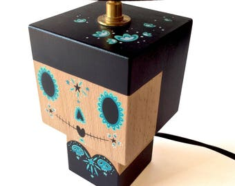 "Small cubic wooden ""Calavera"" inspired black and turquoise Mexican lamp + black shade - brass socket - hand painted"