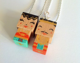 "Necklaces cubic Figurines couple ""Loro Blonyo"" - inséparable Couple-"