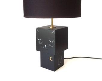 "Lamp cubic wooden ""Black cat"" Figurine"