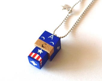 "Pendant cubic figurine ""Captain America"" ball chain necklace"