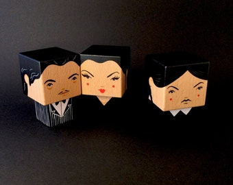 "Wooden decorative ""Adams family"" Gomez - Morticia - Wednesday cubic figurine"