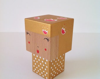 Cubic Kokeshi figurine golden flowers + white polka dots and Red - size M