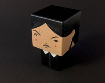 "Cubic wooden decorative ""Wednesday Adams"" figurine"
