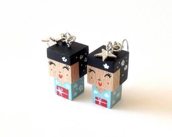 """Earrings Wooden Dolls """"Kokeshis"""" - Hand-made"""