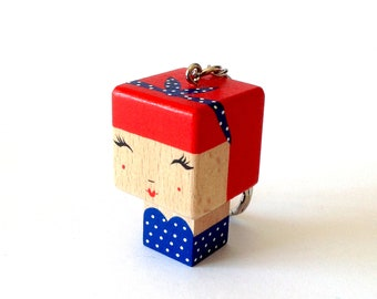 "MINI Woodendoll ""Pin-Up Vintage style (red and blue version)"